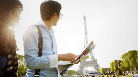 Tourists at Eiffel Tower Paris