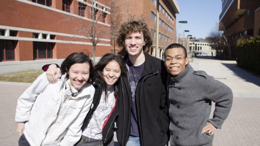 Team HueBotics, a video-game development team at UMBC, is among the final four student teams competing to represent the U.S. in the Games division of the 2015 Microsoft Imagine World Cup competition. The teammates are (l. to r.) Jasmin Martin, Erika Shumacher, Tad Cordle, and Michael Leung.