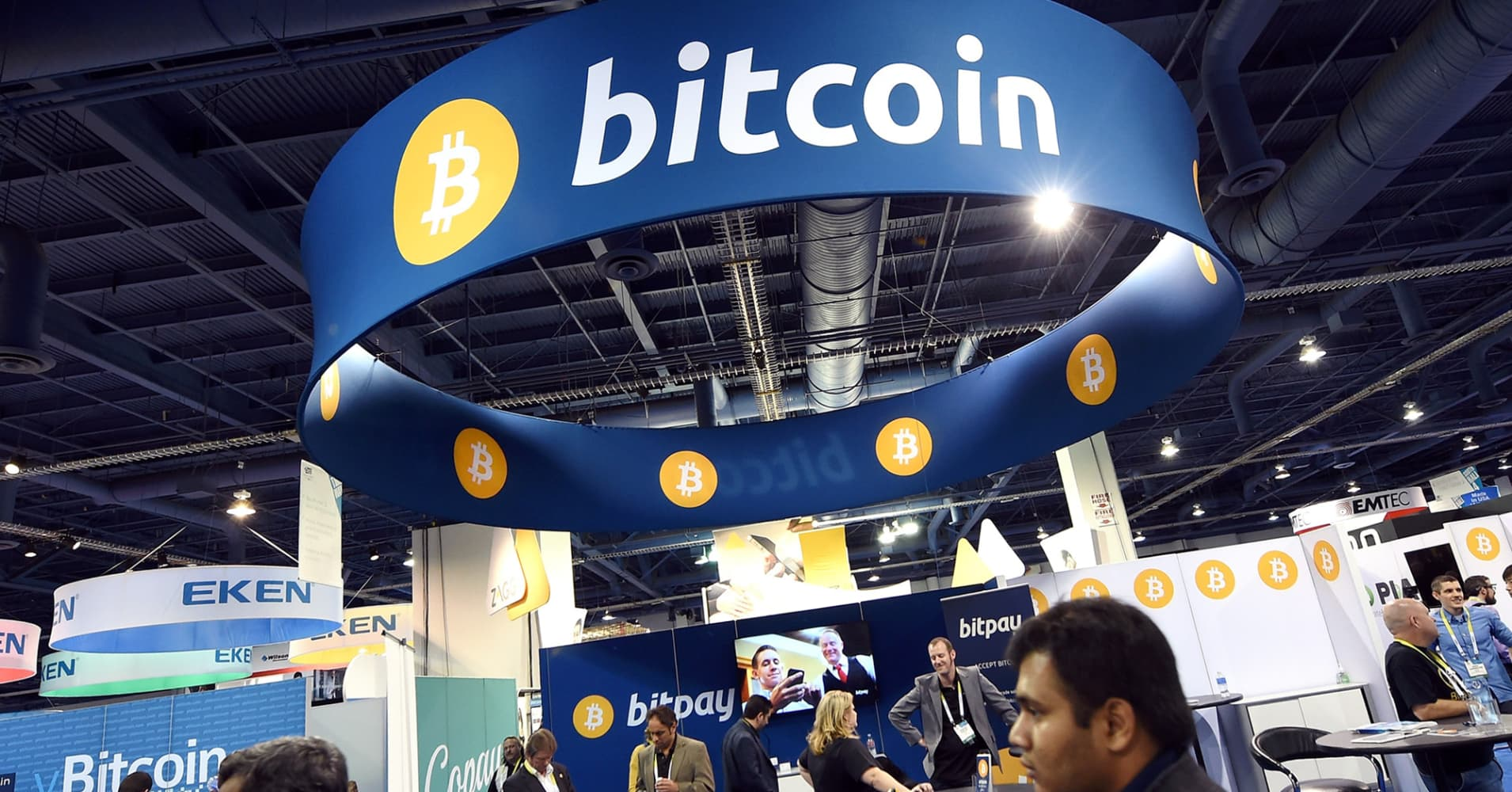 A general view of the Bitcoin booth at the 2015 International CES at the Las Vegas Convention Center.