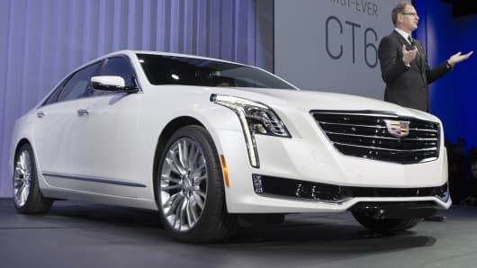 Cadillac President Johan de Nysschen introduces the new CT6 at a New York International Auto Show event, March 31, 2015.