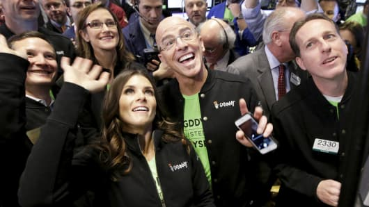 Go Daddy CEO Blake Irving and NASCAR driver Danica Patrick at GoDaddy's IPO at the NYSE, April 1, 2015.