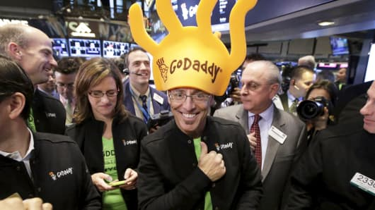 Blake Irving, CEO of Go Daddy, during the IPO at the New York Stock Exchange, April 1, 2015.