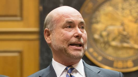 Indiana House Speaker Brian Bosma speaks at the State Capitol April, 2, 2015 in Indianapolis.