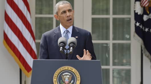 President Barack Obama speaks about the framework agreement on Iran's nuclear program announced by negotiators in Switzerland during a statement in the Rose Garden of the White House in Washington April 2, 2015.