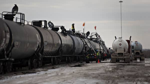 Liquid propane is transloaded from a truck to a rail car at the Red River Supply Inc. rail yard in Williston, North Dakota.