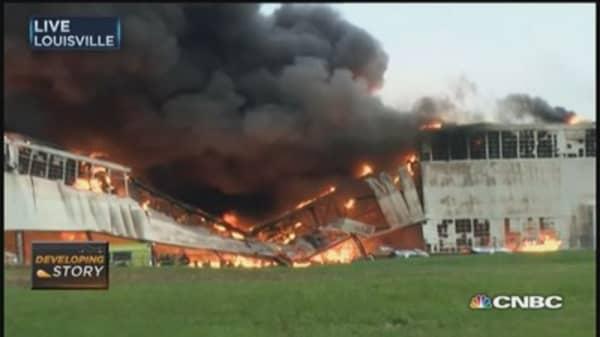 Four-alarm fire burns at GE Appliance Park