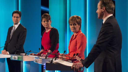 (L-R) Labour leader Ed Miliband, Plaid Cymru leader Leanne Wood, Scottish National Party leader Nicola Sturgeon and Conservative leader David Cameron take part in the ITV Leader's Debate 2015 at MediaCityUK studios on April 2, 2015 in Salford, England.