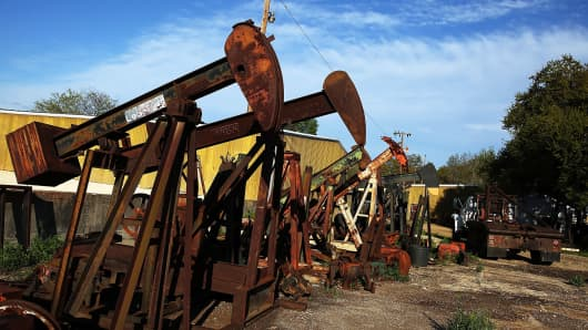 Rusted out 'pump-jacks' in the oil town of Luling, Texas.