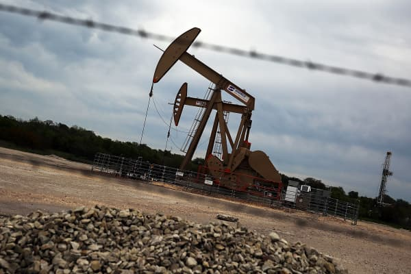 An oil pump jack in the oil town of Gonzales, Texas.