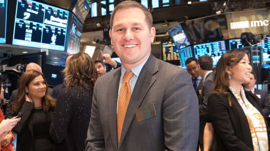 Sean Klimczak, senior managing director for private equity firm Blackstone Group, is shown on the floor of the New York Stock Exchange where the 2015 class of the World Economic Forum's Young Global Leaders rang the opening bell, March 27th, 2015.