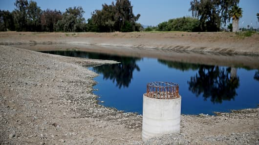 Low water levels are visible at the Los Capitancillos Recharge Ponds in San Jose, Calif.