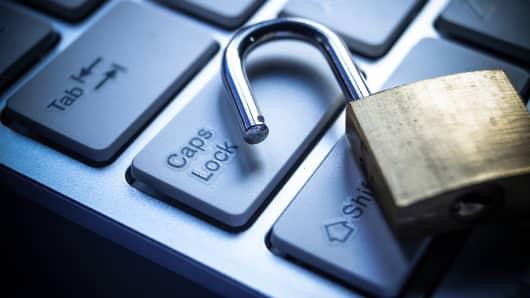 Open lock on computer keyboard