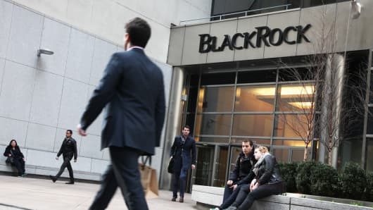BlackRock signage above building entrance in New York.