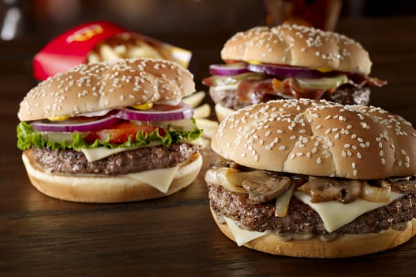 "McDonalds' ""Sirloin Third Pound"" hamburgers."
