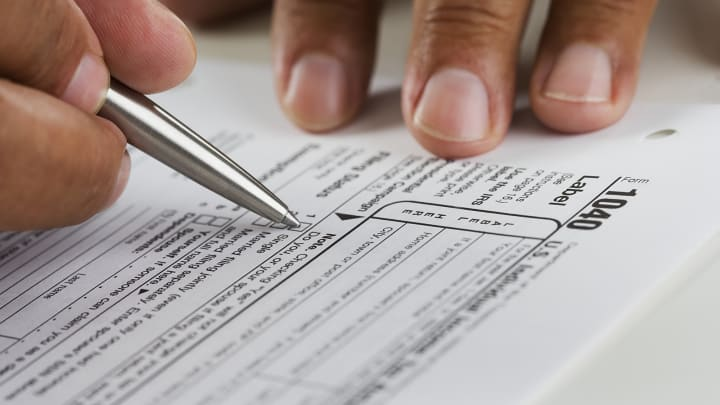 Filling out income tax form 1040