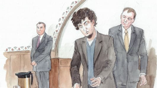 Sketch of Dzhokhar Tsarnaev entering the courtroom, April 8, 2015