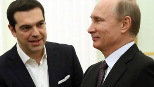Greek Prime Minister Alexis Tsipras meets Russian President Vladimir Putin on April 8 2015