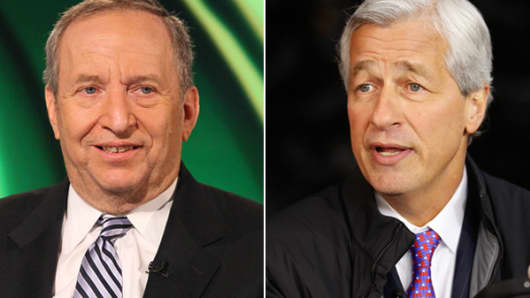 Larry Summers, left, and Jamie Dimon