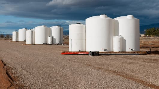 Tanks that hold the water to be filtered through the desalination machines at the Desal Prize test site in Alamogordo, NM.