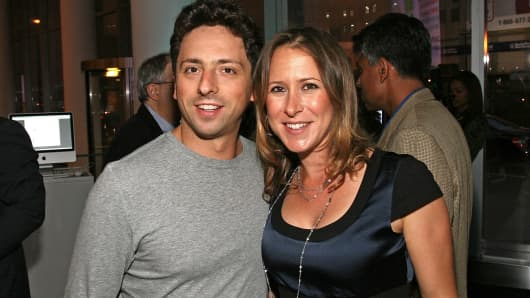Sergey Brin and wife Anne Wojcicki attend the 23 and Me Spit party at the IAC Building in New York.