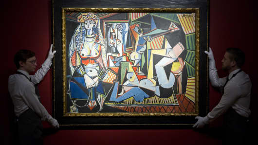 Spanish painter Pablo Picasso's Les femmes dAlger (Version O) on April 10, 2015.