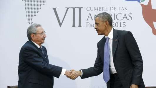 File photo: President Obama shakes hands with Cuba's Raul Castro during the Summit of the Americas in Panama City, April 11, 2015.