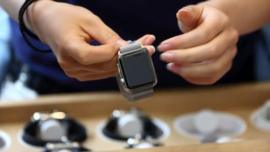 An Apple Watch shown at an Apple store.