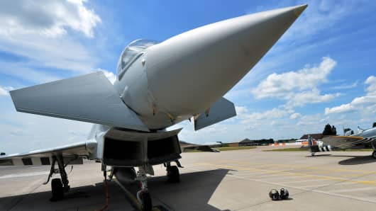 A Royal Air Force Eurofighter Typhoon jet