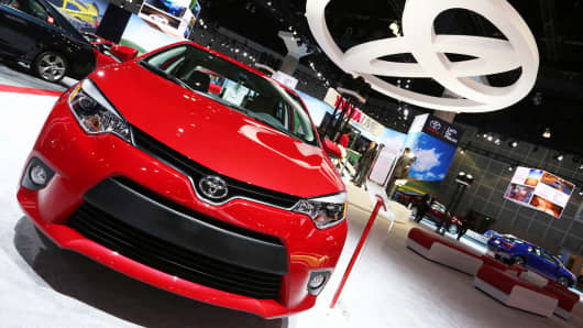 A Toyota Corolla LE is displayed during the LA Auto Show in Los Angeles, November 2013.