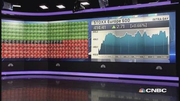 Europe closes higher after ECB, oil gains; Alcatel slumps