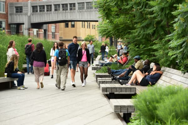 People on the High Line park in New York.