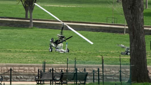 A man was arrested after landing a gyrocopter on the West Lawn of the U.S. Capitol on Wednesday, April 15, 2015.