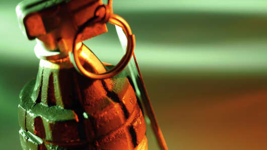 Closeup of hand grenade