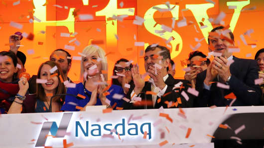 Etsy CEO Chad Dickerson and others celebrate their IPO at the Nasdaq exchange, April 16, 2015.