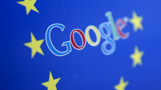 Google and European Union logos are seen in Sarajevo, Bosnia and Herzegovina in this April 15, 2015 photo illustration.