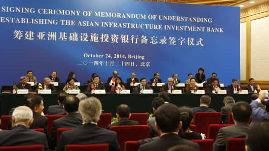 The signing ceremony of the Asian Infrastructure Investment Bank at the Great Hall of the People in Beijing on October 24, 2014.
