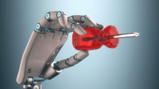 Robot and screwdriver