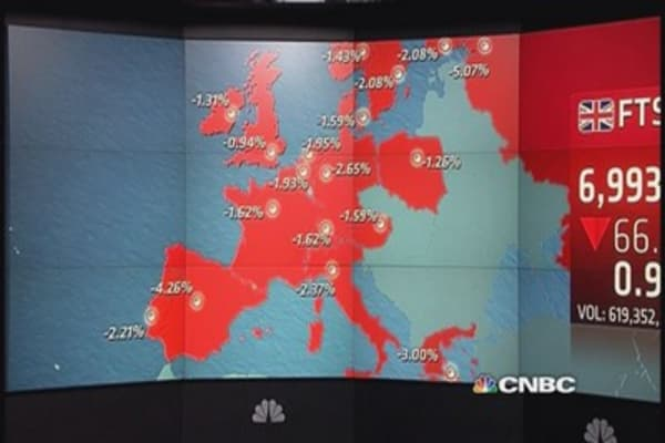 Europe ends sharply lower amid Chinese warning; Greece fears