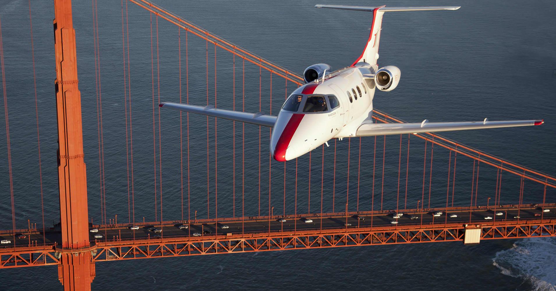 Jets flying over Golden Gate Bridge