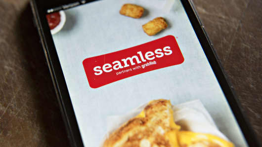 The Seamless app displayed on a smartphone.
