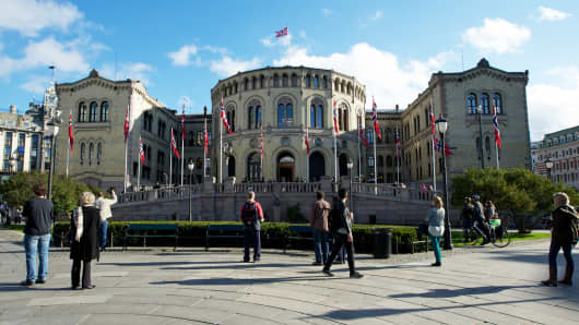 A general view of Stortinget, the Norwegian parliament in Oslo