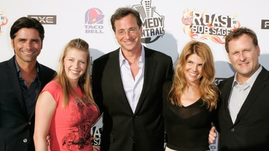"""Full House"" cast members John Stamos, Jodie Sweetin, Bob Saget, Lori Loughlin and Dave Coulier in 2008."