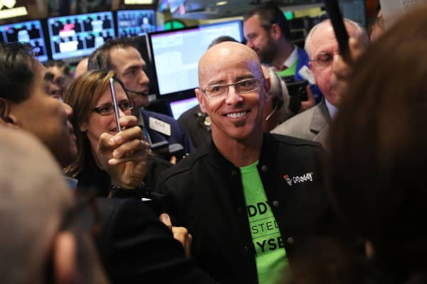 GoDaddy CEO Blake Irving visits the floor of the New York Stock Exchange as the website hosting service makes its initial public offering (IPO) on April 1, 2015 in New York City.