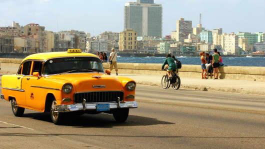 A taxi cab in Havana, Cuba.