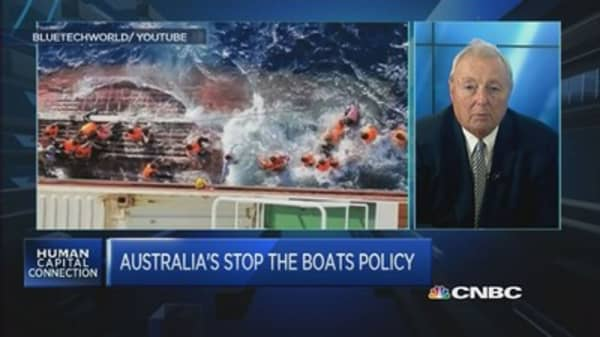 Australian PM urges Europe to turn away migrant boats