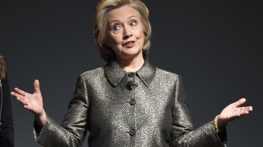 Hillary Clinton speaks at a women's equality event March 9, 2015 in New York.