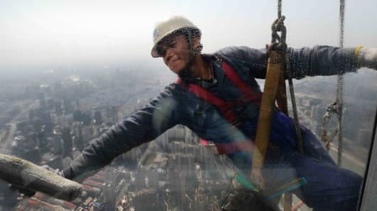 Sightseeing point of the 632-meter-high Shanghai Tower is under construction in Shanghai, March 22, 2015.