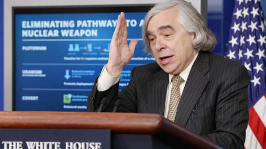 Secretary of Energy Ernest Moniz discusses the preliminary nuclear deal with Iran on April 6, 2015.