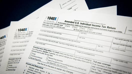 The IRS 1040x Amended Tax Return forms.