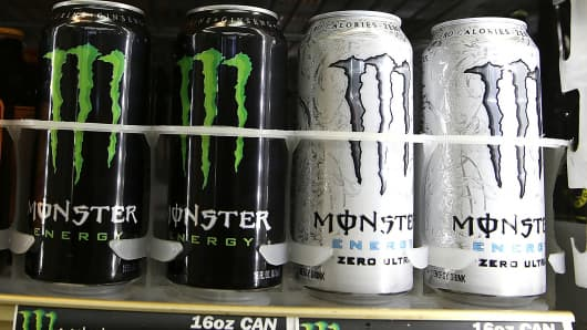 Cans of Monster Energy Drink are displayed on a shelf at a convenience store in Kentfield, Calif.